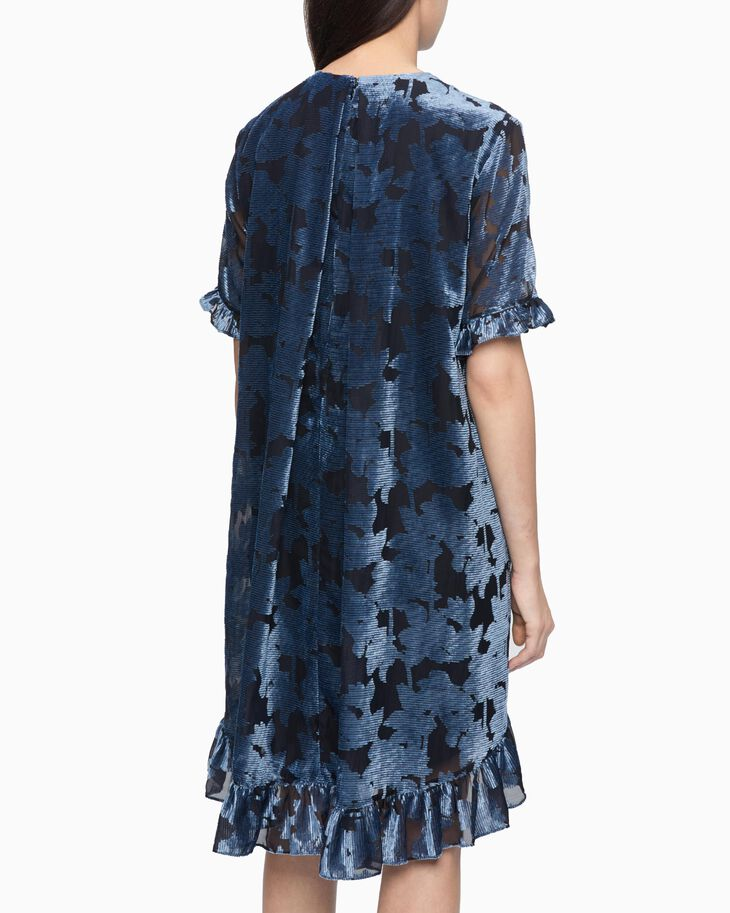 CALVIN KLEIN FLORAL PATTERN FLARED DRESS