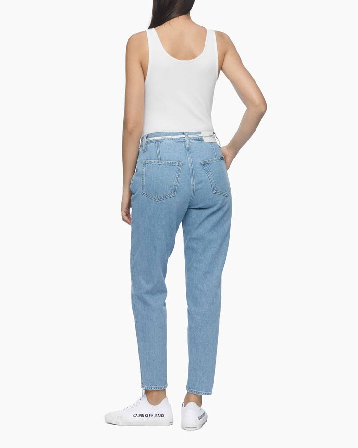 CALVIN KLEIN MOM JEANS WITH LOGO LACE