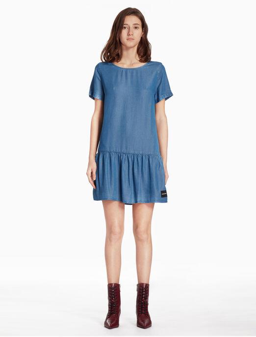 CALVIN KLEIN 우븐 데님 드레스