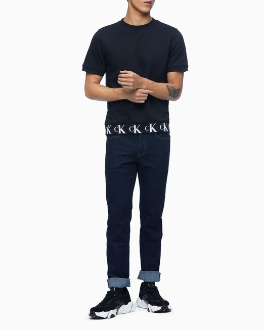 CALVIN KLEIN 남성 헴 로고 크루넥 반팔 스웨트 셔츠
