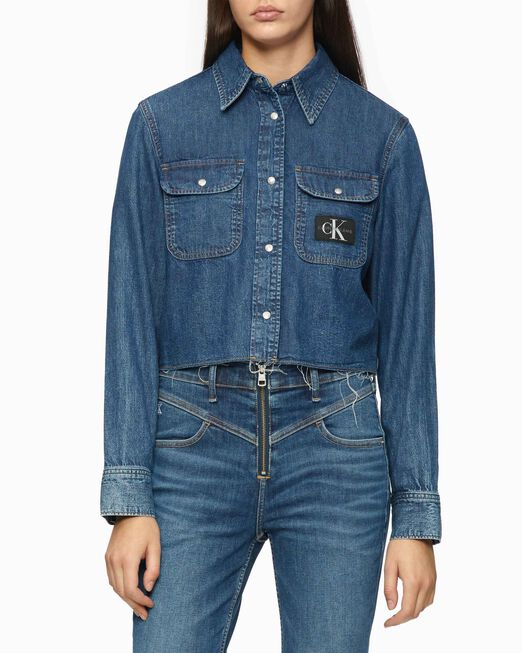 CALVIN KLEIN CROPPED UTILITY DENIM SHIRT