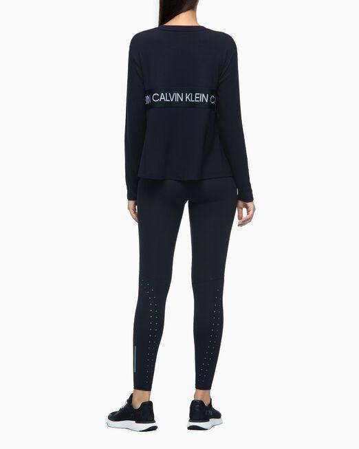 CALVIN KLEIN 여성 에이아이 플레어 헴 긴팔 티셔츠