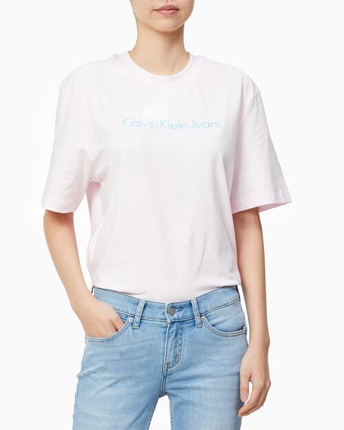 CALVIN KLEIN 여성 인스티튜셔널 로고 보이프렌드핏 반팔 티셔츠
