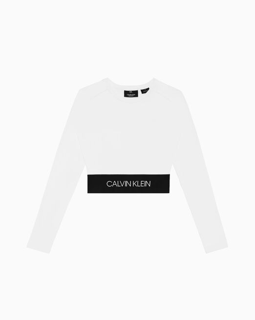 CALVIN KLEIN ACTIVE ICON 로고 크롭 긴소매 티셔츠