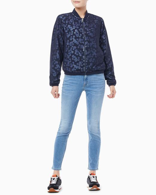 CALVIN KLEIN 여성 플로랄 메쉬 보머 재킷