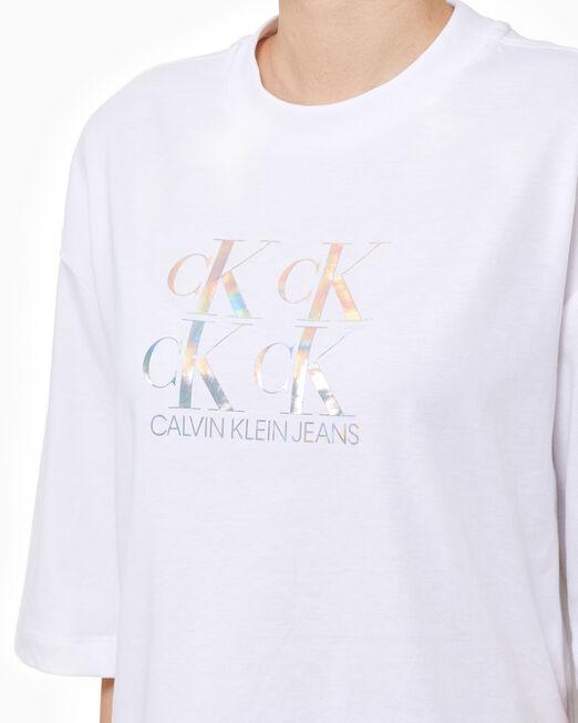 CALVIN KLEIN 여성 이리데슨트 CK 패션 티셔츠