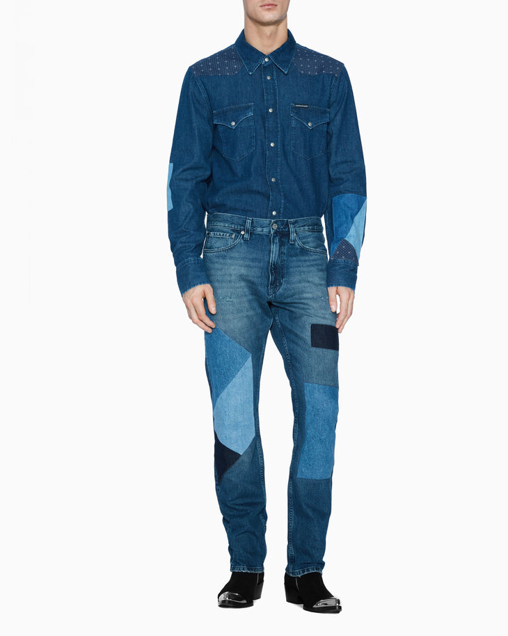CALVIN KLEIN PATCHWORK DENIM SHIRT