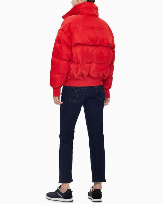 CALVIN KLEIN 여성 레드 패커블 스탠드 카라 다운 퍼프 자켓