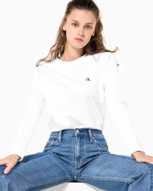 CALVIN KLEIN 여성 CK 로고 스트레이트핏 긴팔 티셔츠
