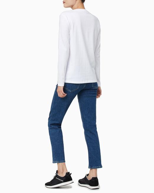 CALVIN KLEIN 여성 CK 엠보스드 스트레이트핏 긴팔 티셔츠