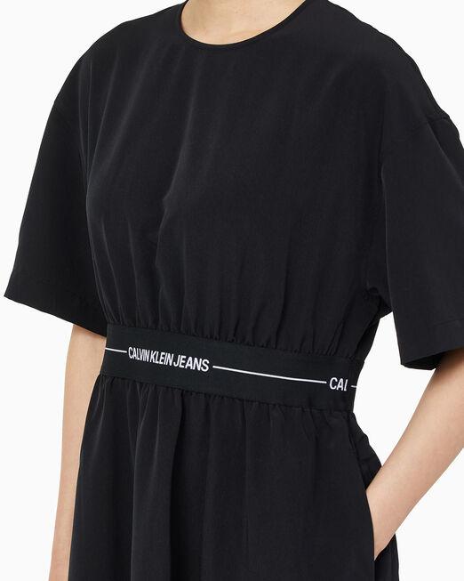 CALVIN KLEIN 여성 로고 테이프 핏 & 플레어 미디 드레스