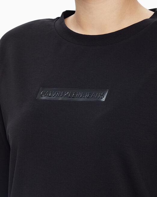 CALVIN KLEIN 여성 블랙 튜닉 니트 티셔츠