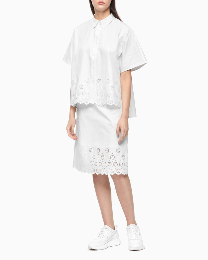 CALVIN KLEIN BORDERED ANGLAISE CROPPED SHIRT