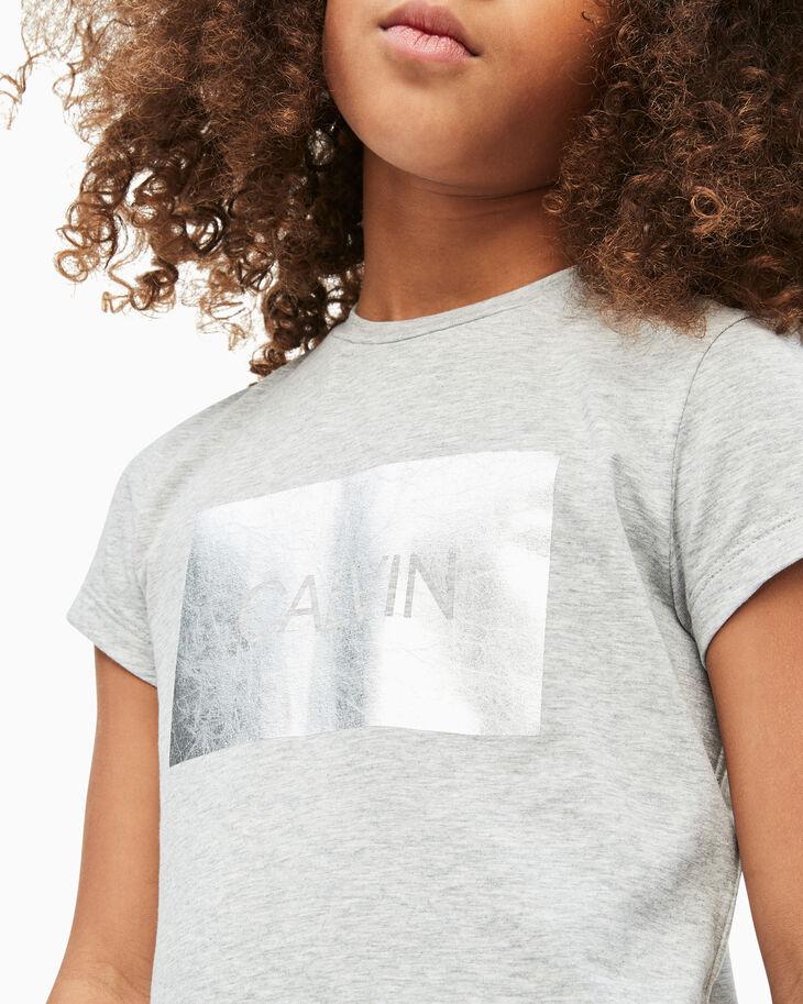 CALVIN KLEIN GIRL'S METAL FOIL LOGO TEE