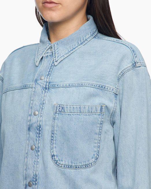 CALVIN KLEIN 여성 크롭 대드 셔츠