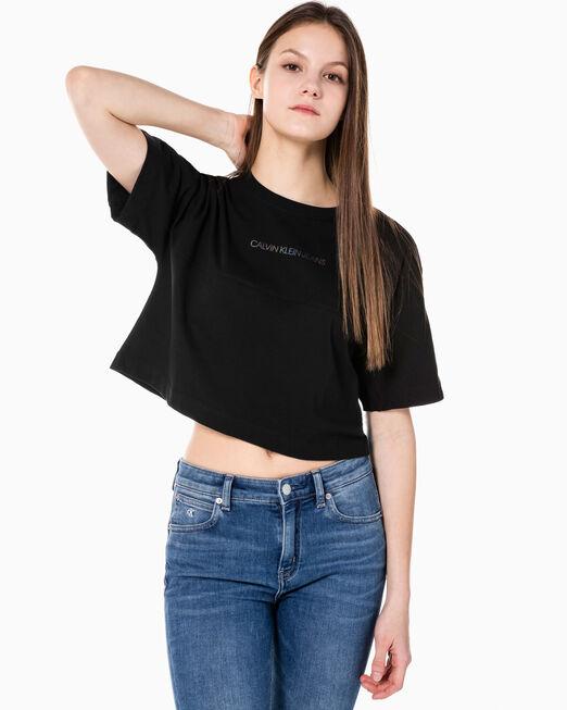 CALVIN KLEIN 여성 백 리플렉티브 로고 티셔츠