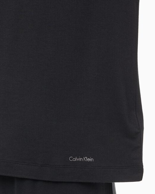 CALVIN KLEIN 여성 소피스티케이티드 라운지 숏 슬리브 크루넥 탑