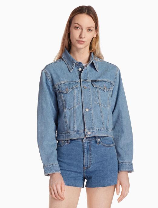CALVIN KLEIN 크롭트 파운데이션 트럭커 재킷