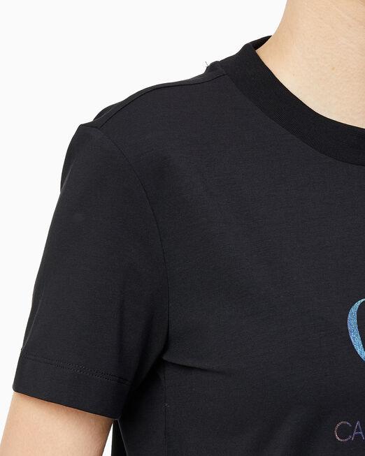 CALVIN KLEIN 여성 이리데슨트 모던 스트레이트 핏 반팔 티셔츠