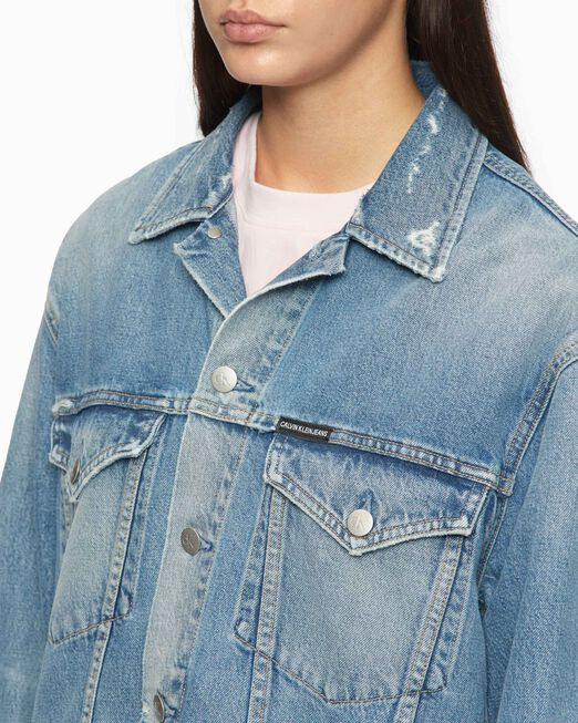 CALVIN KLEIN RIPPED FOUNDATION TRUCKER JACKET