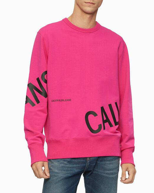 CALVIN KLEIN 남성 스트레치 로고 크루넥 스웨트셔츠