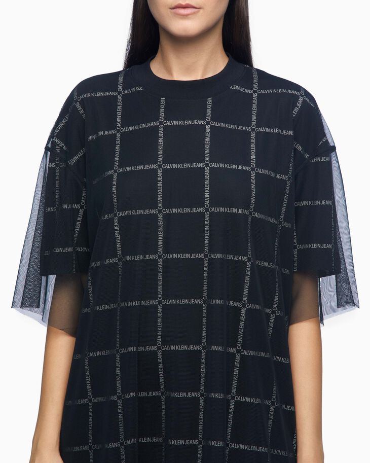 CALVIN KLEIN DOUBLE LAYER LOGO PATTERN T-SHIRT DRESS
