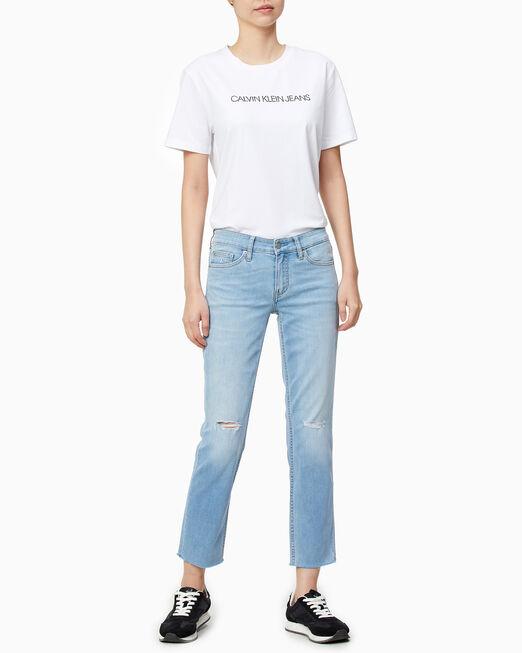 CALVIN KLEIN 여성 스트레이트 핏 스몰 로고 반팔 티셔츠
