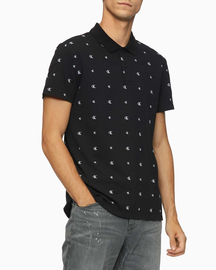 CALVIN KLEIN ALL OVER LOGO SLIM POLO SHIRT