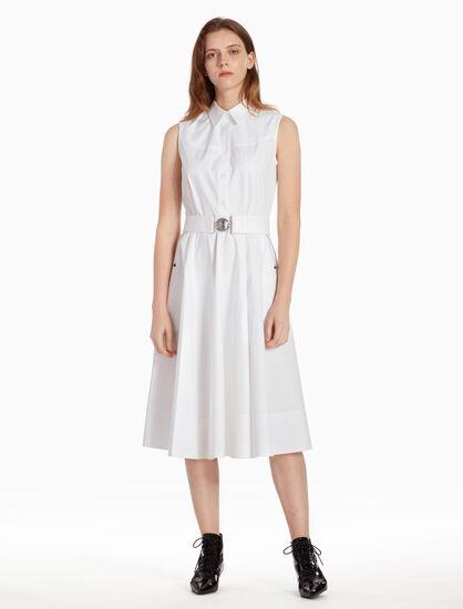 CALVIN KLEIN Z TWIST SLEEVELESS DRESS WITH BELT
