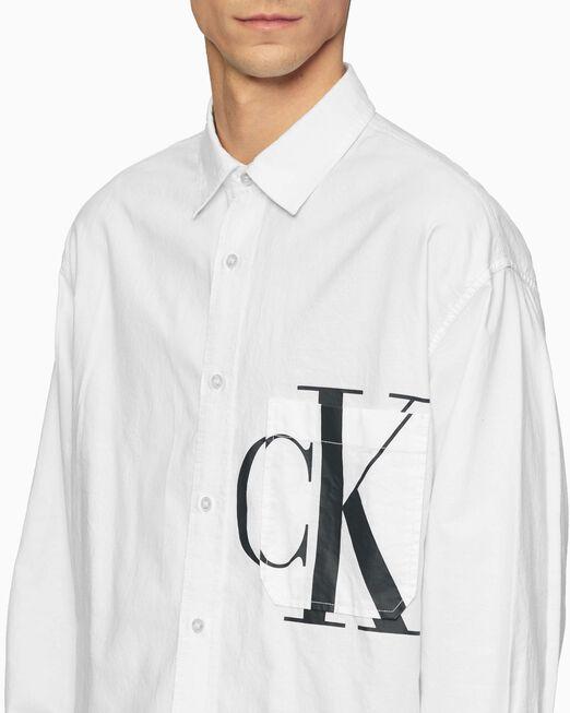 CALVIN KLEIN 남성 그래픽 오버사이즈 셔츠