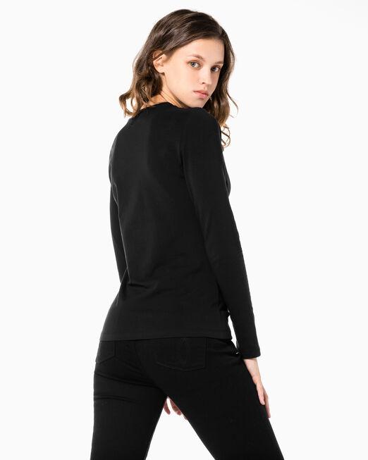 CALVIN KLEIN 여성 인스티튜셔널 로고 스트레이트핏 긴팔 티셔츠