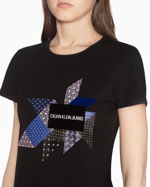 CALVIN KLEIN VELVET FLOCKED LOGO PRINT 슬림 티셔츠