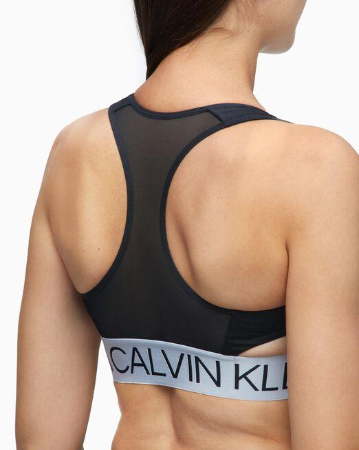 CALVIN KLEIN 여성 액티브 아이콘 실버 웨이스트밴드 사이드 컷 아웃 브라