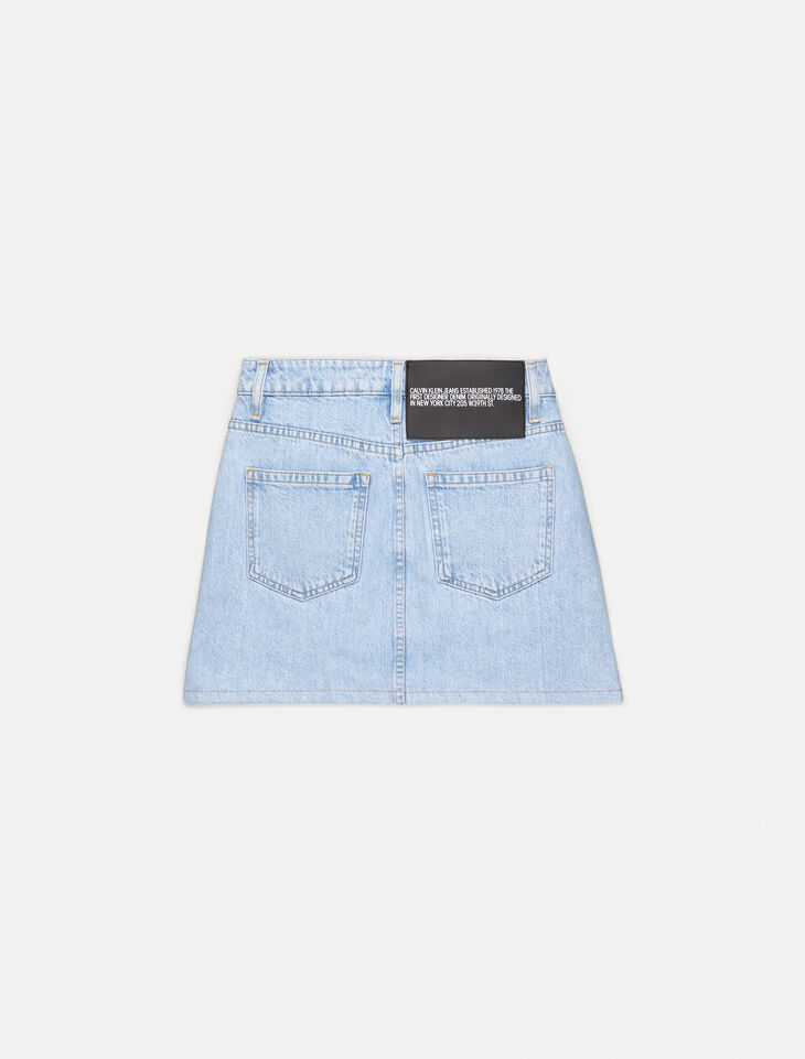 CALVIN KLEIN GRAPHIC DENIM MINI SKIRT