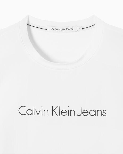 CALVIN KLEIN 여성 슬림핏 인스티튜셔널 로고 반팔 티셔츠