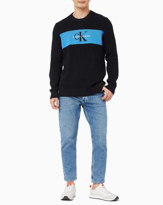 CALVIN KLEIN 남성 컬러 블로킹 로고 스웨터