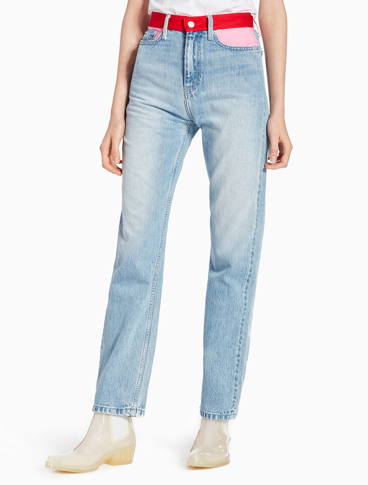 CALVIN KLEIN CKJ 030 WOMEN COLOR BLOCK STRAIGHT JEANS