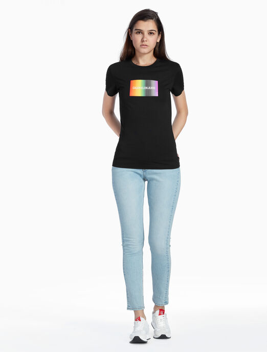 CALVIN KLEIN SLIM RAINBOW LOGO 티셔츠