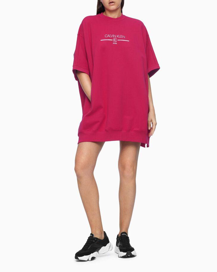 CALVIN KLEIN ORGANIC COTTON IRIDESCENT LOGO CAPE DRESS