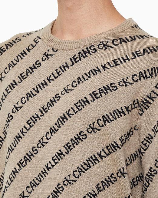 CALVIN KLEIN 남성 릴렉스핏 AOP 로고 스웨터