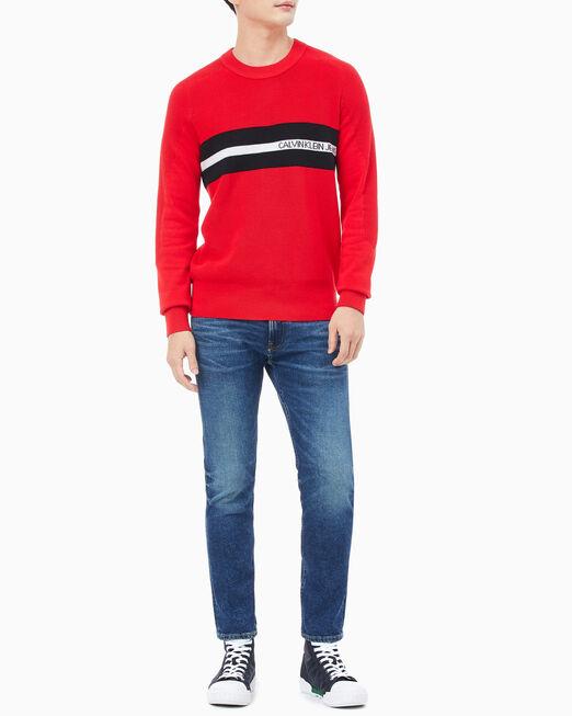 CALVIN KLEIN 남성 체스트 스트라이프 스웨터