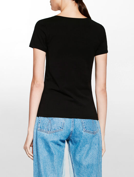 CALVIN KLEIN 3B V넥 솔리드 티셔츠