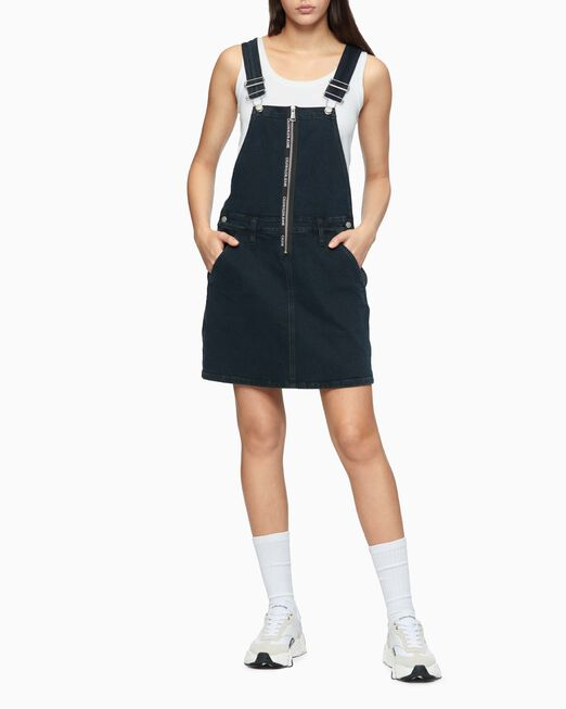 CALVIN KLEIN LOGO ZIP DUNGAREE DRESS
