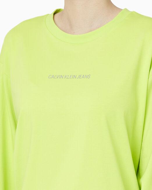 CALVIN KLEIN 여성 패션핏 섀도우 로고 긴팔 티셔츠