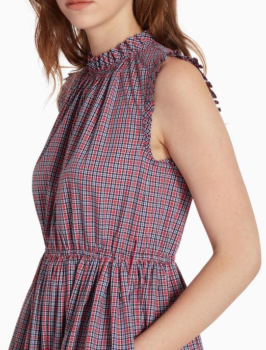 CALVIN KLEIN 체크 프릴 민소매 드레스
