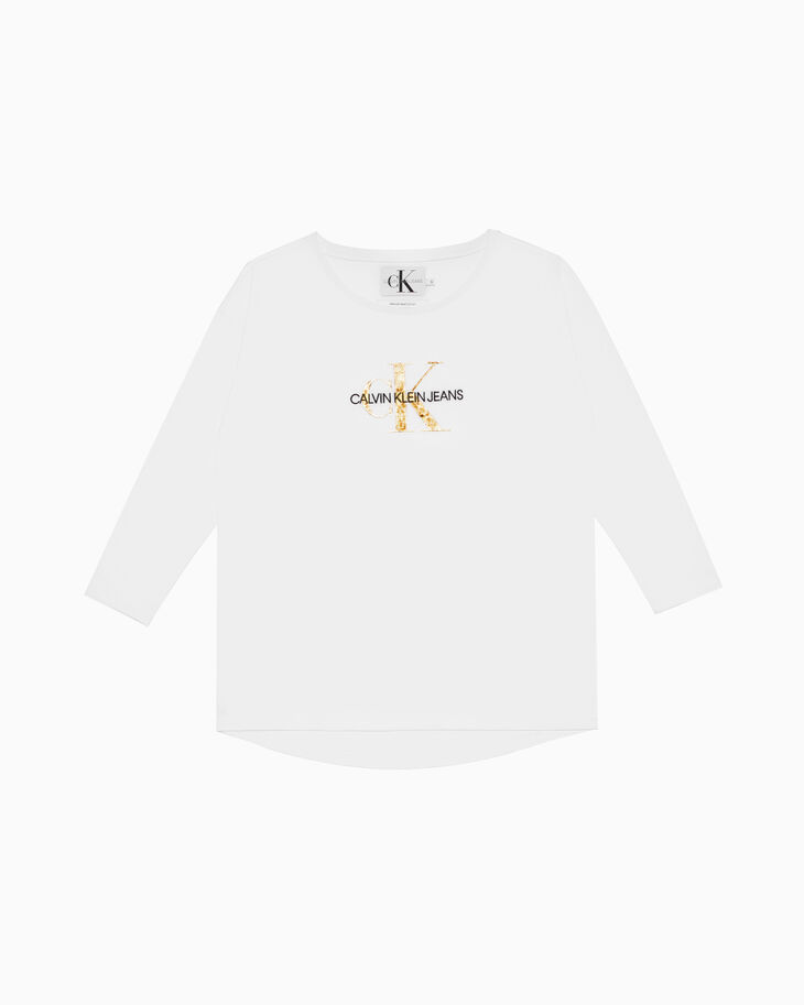 CALVIN KLEIN GOLD MONOGRAM LOGO LONG SLEEVE TEE