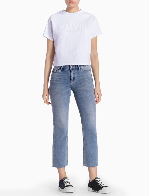 CALVIN KLEIN LOGO 래글런 소매 티셔츠
