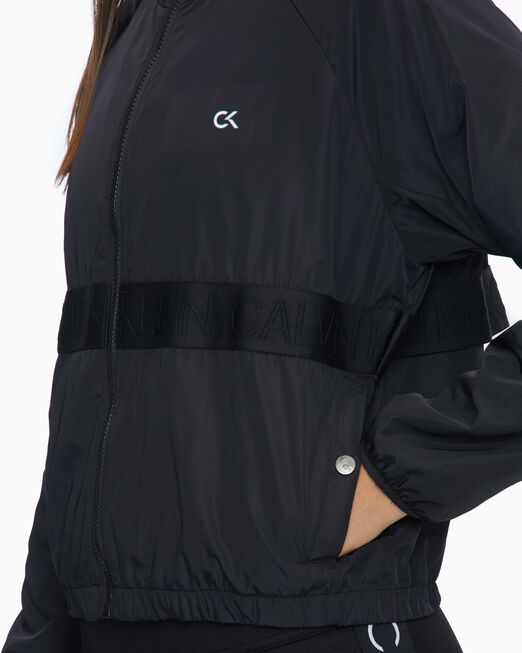 CALVIN KLEIN 여성 액티브 아이콘 엘라스틱 후드 우븐 재킷