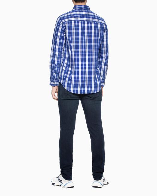 CALVIN KLEIN 남성 슬림핏 37.5 체크 우븐 셔츠