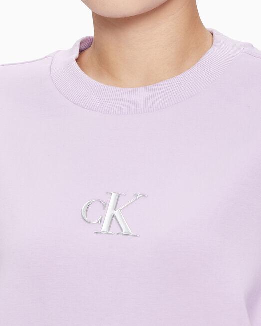 CALVIN KLEIN 여성 실버 CK 크루넥 스웨트셔츠